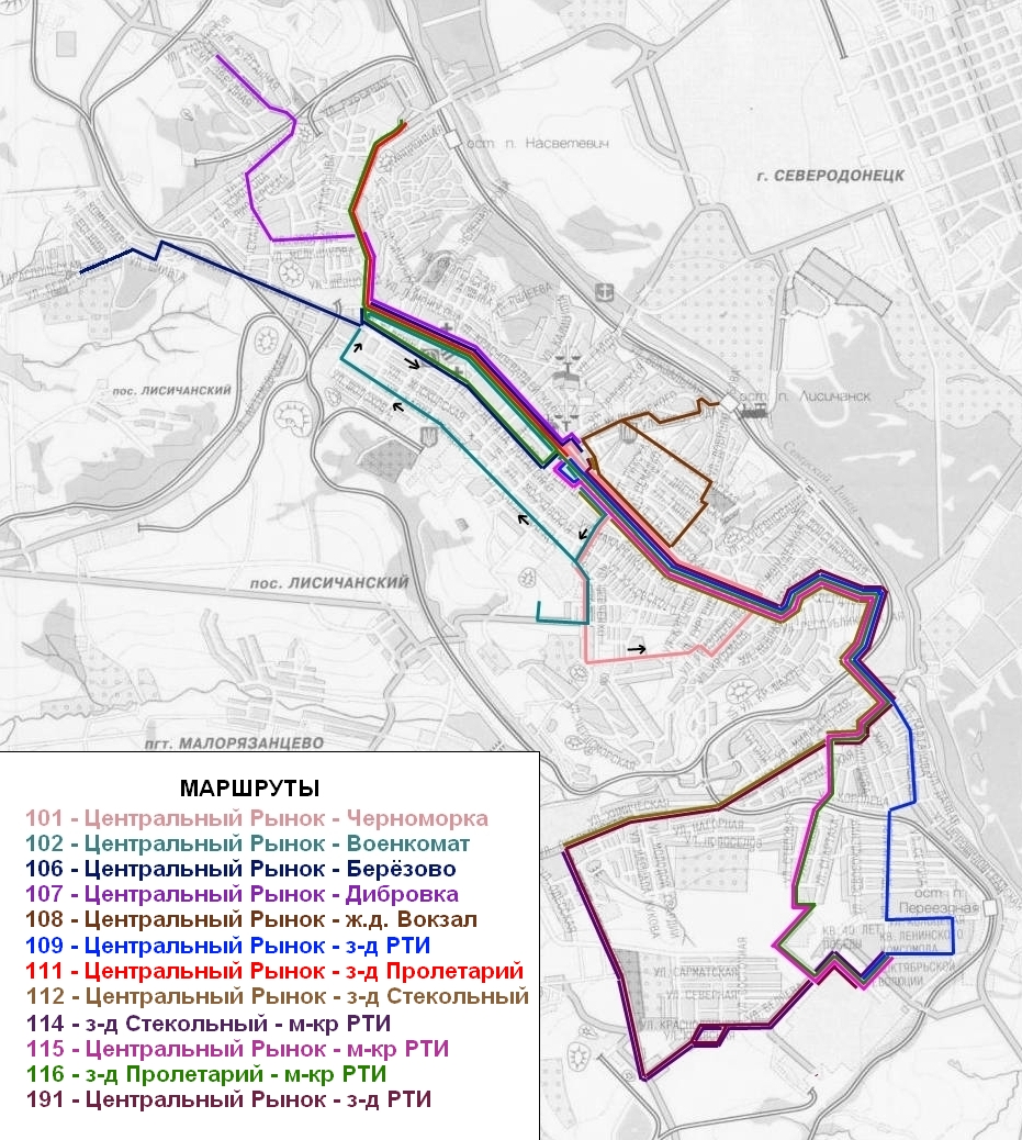 Lisichansk — Maps; Maps routes (Lisichansk)
