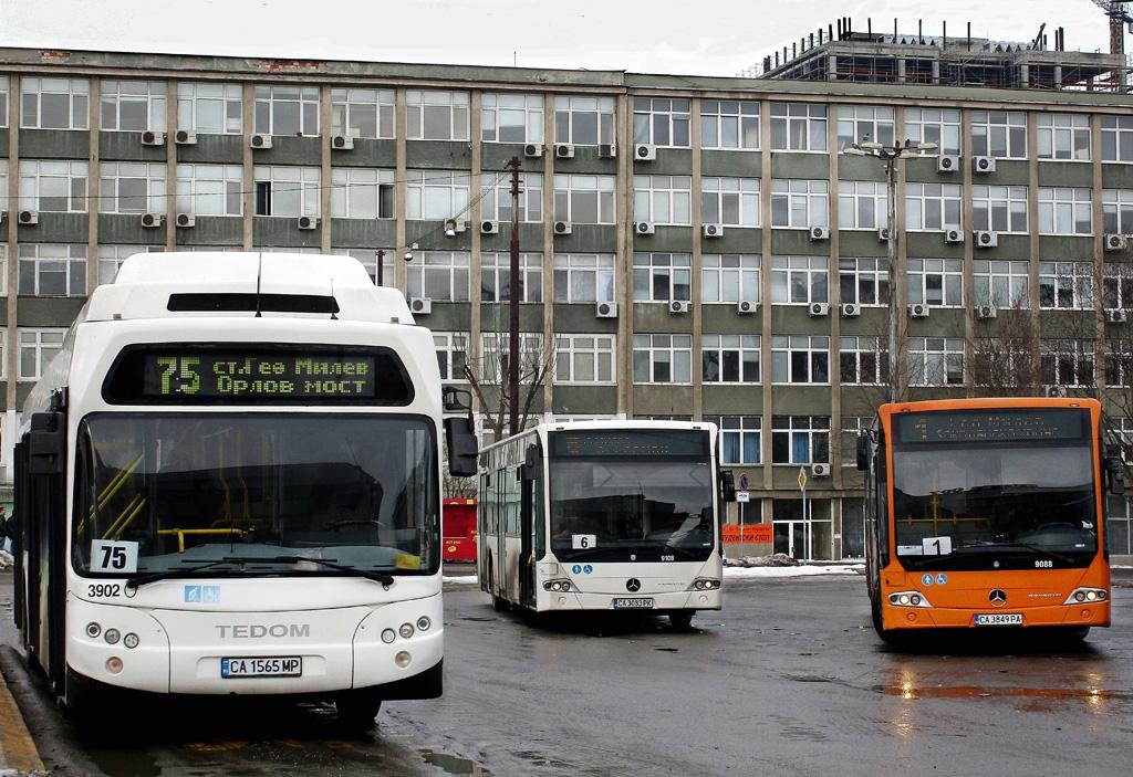 Sofia, Tedom C12G # 3902; Sofia, Mercedes-Benz Conecto II LF # 9108; Sofia, Mercedes-Benz Conecto II LF # 9088