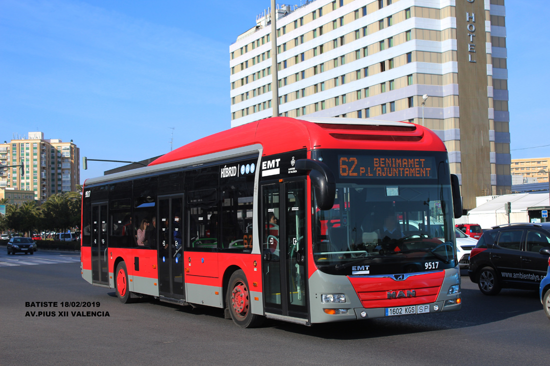 Valencia, MAN A37 Lion's City NL253 Hybrid # 9517