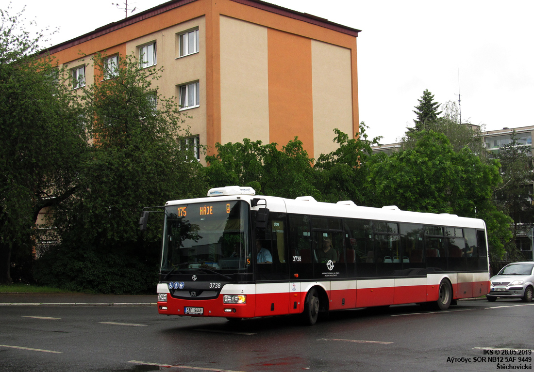 Prague, SOR NB12 # 3738